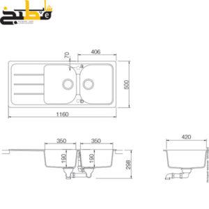 سینک گرانیتی مدل FORMHAUS D200 Alpina شاک
