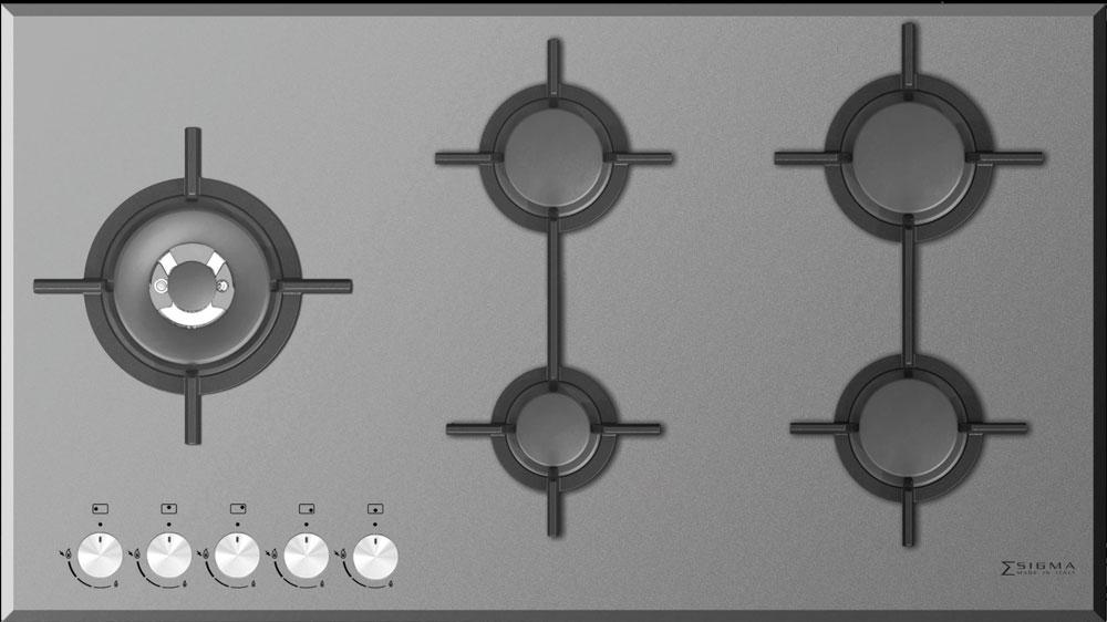 اجاق گاز شیشه ای مدل CRISTALLO 5G SIDE زیگما