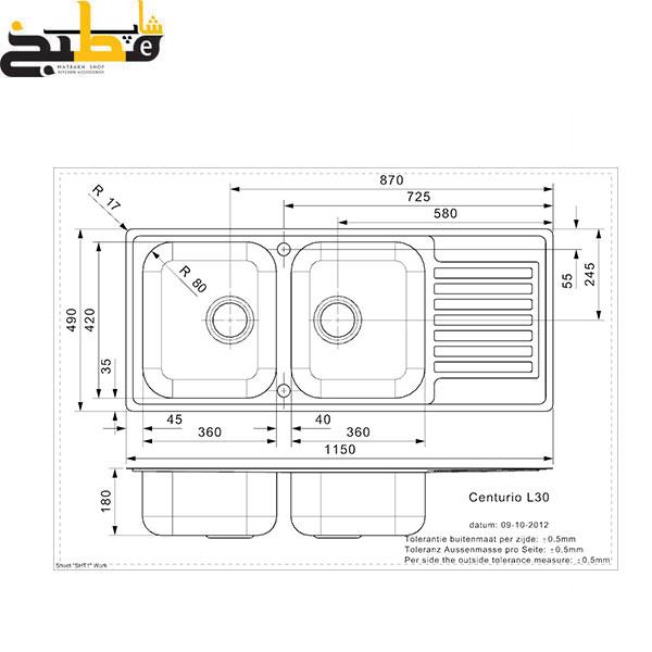 سینک استیل مدل CENTURIO 30 رجینوکس