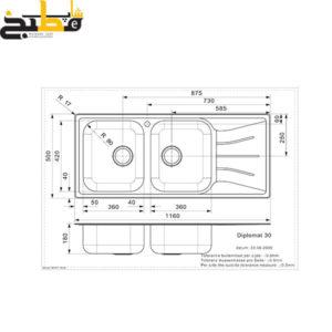 سینک استیل مدل DIPLOMAT 30 LUX رجینوکس