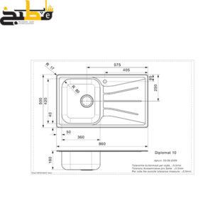 سینک استیل مدل DIPLOMAT 10 LUX رجینوکس