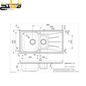 سینک استیل مدل DIPLOMAT 1.5 LUX رجینوکس