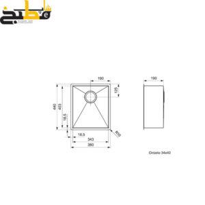 سینک استیل مدل ONTARIO 34*40 رجینوکس
